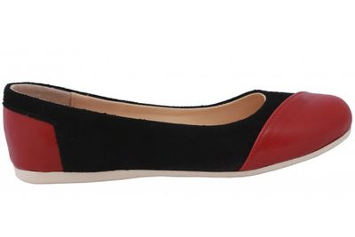Ballerinas made ​​of genuine leather in black/bordeaux red – image 2