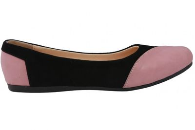 Ballerinas made of genuine leather in black/pink – image 3