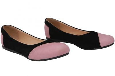Ballerinas made of genuine leather in black/pink – image 5