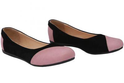 German Wear, Ballerinas Lederschuhe aus Wildleder & Glattleder in schwarz/rosa – Bild 5