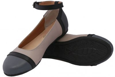 Ballerinas made ​​of genuine leather in beige/grey/black – image 2