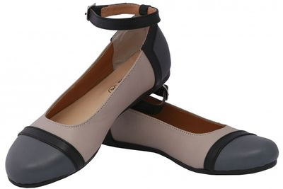 Ballerinas made ​​of genuine leather in beige/grey/black – image 6