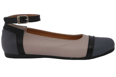 Ballerinas made ​​of genuine leather in beige/grey/black – image 3