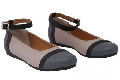 Ballerinas made ​​of genuine leather in beige/grey/black – image 5