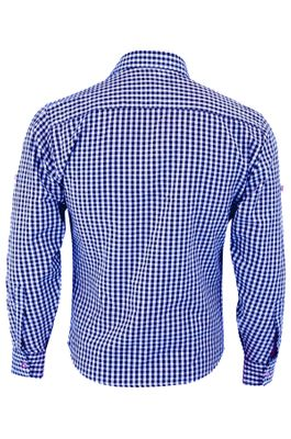 Traditional Bavarian Shirt For Lederhosen/Oktoberfest with Edelweiss embroidery,Color:Dark Blue/checkered – image 2