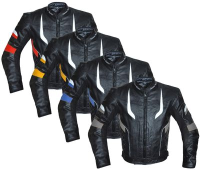 German Wear, Motorcycle Leather Jacket in four colour combinations red, yellow, blue, gray
