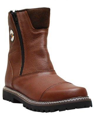 Boots shoes with zipper made of genuine cowhide leather shoes Dark Brown Boots shoes with zipper made of genuine cowhide leather shoes Dark Brown  – image 1