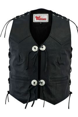 Leather Motorcycle Vest Leather vest Bikervest black