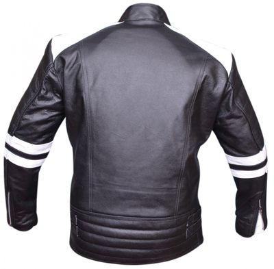 Leather Motorcycle Jacket Cowhide combinable black/red/white – image 2