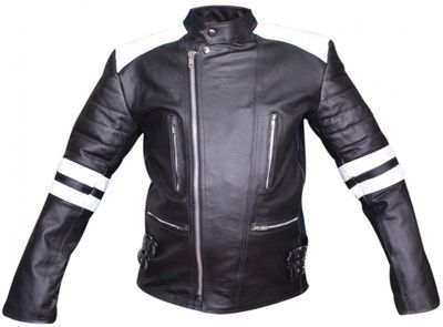 Leather Motorcycle Jacket Cowhide combinable black/red/white – image 3