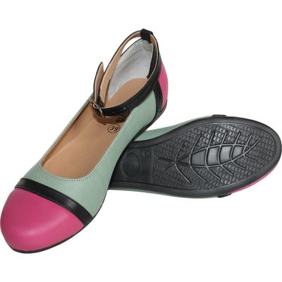Ballerinas made ​​of genuine leather in green/brown/black – image 4