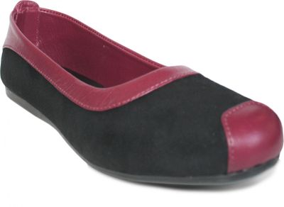 German Wear, Ballerinas Lederschuhe aus Wildleder & Glattleder in schwarz/bordeaux rot – Bild 3