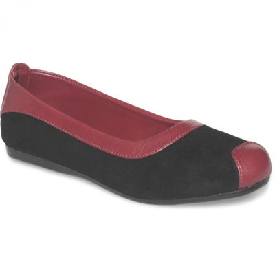 German Wear, Ballerinas Lederschuhe aus Wildleder & Glattleder in schwarz/bordeaux rot – Bild 1