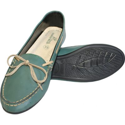 Boat Shoes made of real Cowhide,Color: Green – image 4