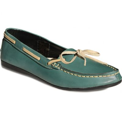 Boat Shoes made of real Cowhide,Color: Green – image 1
