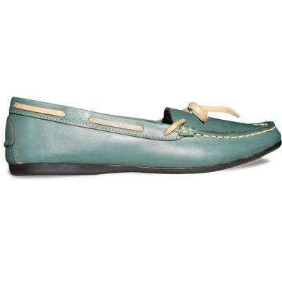 Boat Shoes made of real Cowhide,Color: Green – image 2