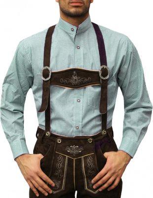 Trachtenhemd mit Stehkragen für Trachtenlederhosen Grün/kariert – Bild 1