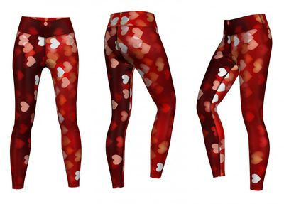 Energy Leggins for Sports, Gym & Fashion Sublimation print stretch red – image 3