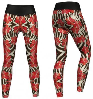 Flowers Leggings sehr dehnbar für Sport, Gymnastik, Training & Fashion Schwarz/Weiß/Rot – Bild 2