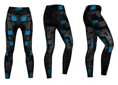 Energy Leggins for Sports, Gym & Fashion Sublimation print stretch Black/turquois – image 3