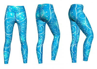Galaxy Leggings sehr dehnbar für Sport, Gymnastik, Training & Fashion Blau – Bild 3