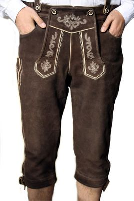 Lederhosen A Rub Off Kniebundhose,Color:Dark Brown