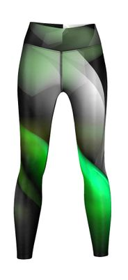 Energy Leggins for Sports, Gym & Fashion Sublimation print stretch Black/Green – image 1