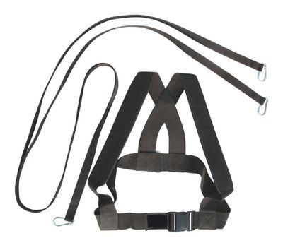 Fitness Geschirr Harnisch Bauch Schulter Gurte Gewichthebergürtel Gürtel Textilien schwarz