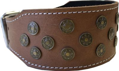 dog collar real leather 45-54cm in light brown – image 2