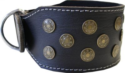 dog collar real leather 45-54cm in black – image 3