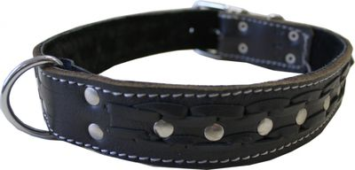 dog collar real leather 55-64cm in black – image 2