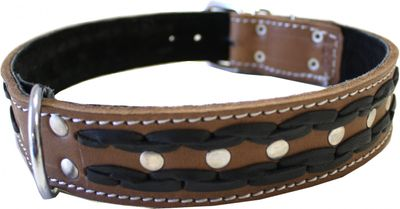 dog collar real leather 55-64cm in brown – image 2