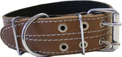 dog collar real leather 47-58cm in brown – image 2