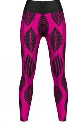 GermanWear,Leggings Tights dehnbar Sport Gymnastik Training Tanzen Freizeit Yoga, Leaf  pink/schwarz