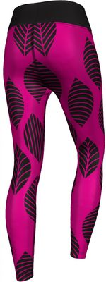 GermanWear,Leggings Tights dehnbar Sport Gymnastik Training Tanzen Freizeit Yoga, Leaf  pink/schwarz – Bild 2