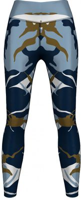 German Wear, Leggings Tights dehnbar für Sport Gymnastik Yoga Tanzen Training, Blau Camo – Bild 1