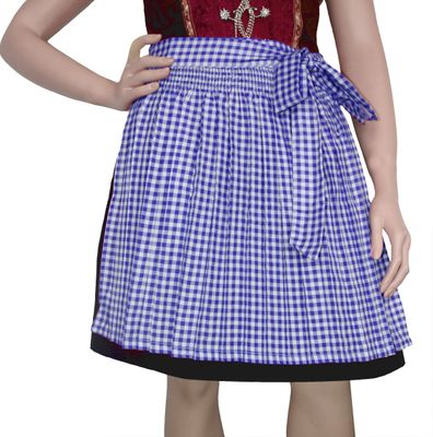 Apron For Mini Dirndl ,Traditional Apron, Colour: Blue Checkered – image 1
