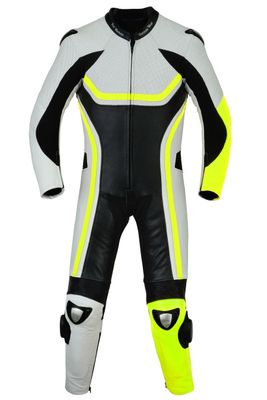 German Wear, Motorbike motorcycle leathers 1 one piece suit real Cowhide leather fluorescent yellow