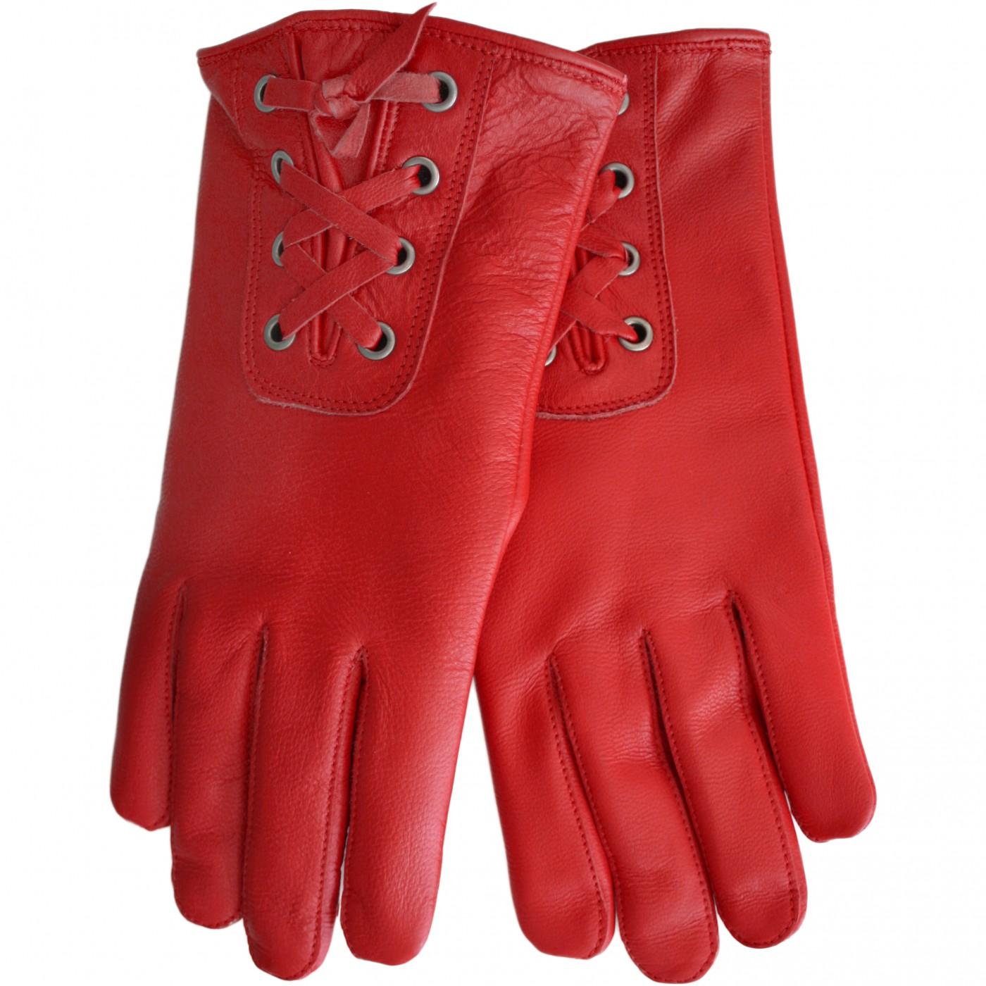 Damen Lederhandschuhe Handschuhe Lammnappa echtleder Lamm-Nappaleder rot
