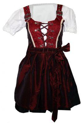 Ladies Four Pieces Set Dirndl Bavarian Oktoberfest Lederhosen Dress,Color: Wine Red