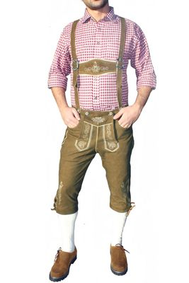 Knee Lenght Pants/ Breeches With Suspenders, Colour:Light Brown – image 1