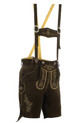 Bavarian Trachten Lederhose Shorts With Suspenders,Color: Dark Brown – image 3