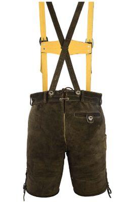 Bavarian Trachten Lederhose Shorts With Suspenders,Color: Dark Brown – image 5