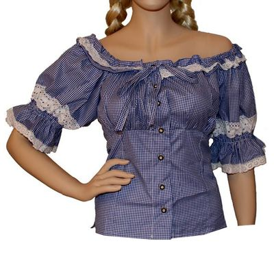 Traditional Bavarian Blouse ,Trachten Blouse,Color:Dark Blue/Checkered