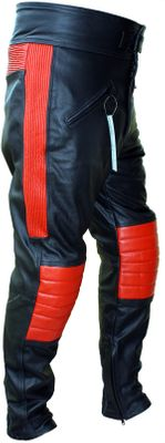 Leather trousers, motorbike trousers, combi trousers cow hide, signalred/black