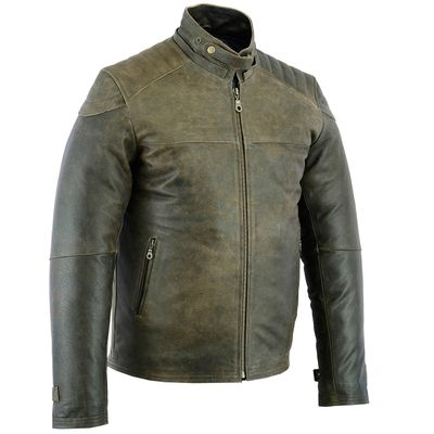 German Wear, Biker Fashion Bikerjacke Lederjacke aus Cracker Kalbsleder