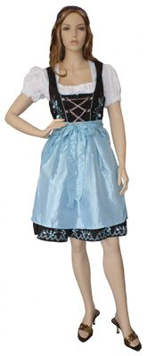 Three Pieces Midi-Dirndl Dress Set, Bavaria Oktoberfest Lederhosen,Color: Blue – image 1
