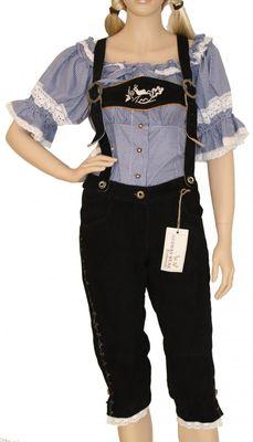 Ladies Bavarian Trachten Lederhosen,Color:Black
