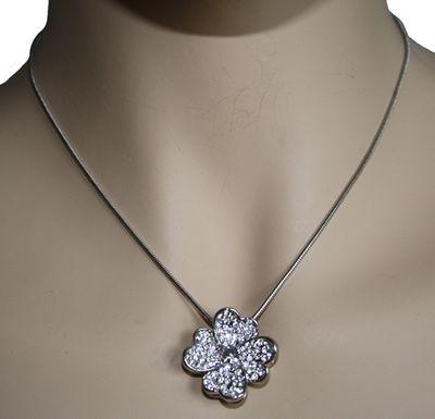 Trachten Necklace, Four Leaf Clover Rhinestones Metal