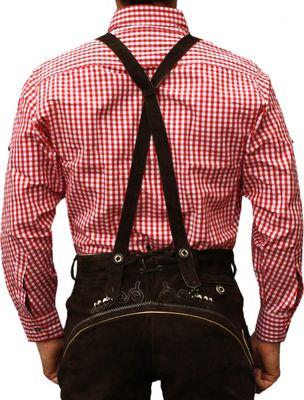 Traditional Bavarian Shirt For Lederhosen/Oktoberfest, Red/Checkered – image 2